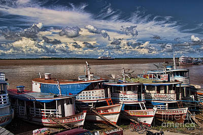 Cumulus Photograph - Colorful Boats On The Amazon River by David Smith