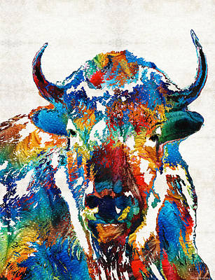 White Painting - Colorful Buffalo Art - Sacred - By Sharon Cummings by Sharon Cummings