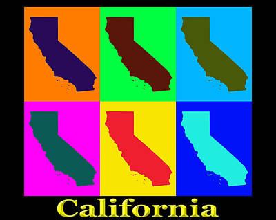 Colorful California State Pop Art Map Print by Keith Webber Jr