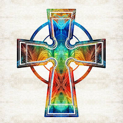 Colorful Celtic Cross By Sharon Cummings Print by Sharon Cummings