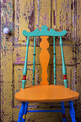 Beaten Up Photograph - Colorful Chair And Old Door by Garry Gay