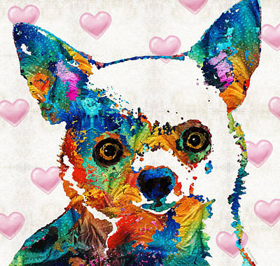 Colorful Chihuahua Art By Sharon Cummings Print by Sharon Cummings