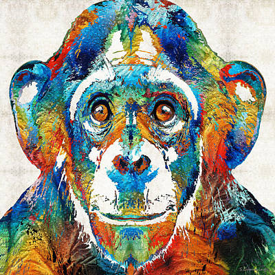 Creepy Painting - Colorful Chimp Art - Monkey Business - By Sharon Cummings by Sharon Cummings
