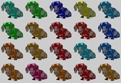 Dachshund Digital Art - Colorful Dachshund Pop Art Poster by Dan Sproul