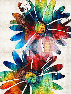 Bohemian Painting - Colorful Daisy Art - Hip Daisies - By Sharon Cummings by Sharon Cummings