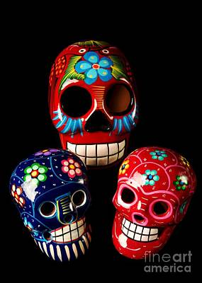Colorful Day Of The Dead Skulls Print by M and L Creations