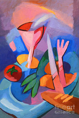 Images Painting - Colorful Dinner by Lutz Baar