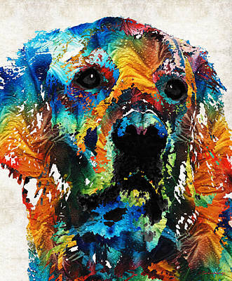 Colorful Dog Art - Heart And Soul - By Sharon Cummings Print by Sharon Cummings