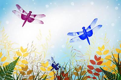 Rollo Digital Art - Colorful Dragonflies by Christina Rollo