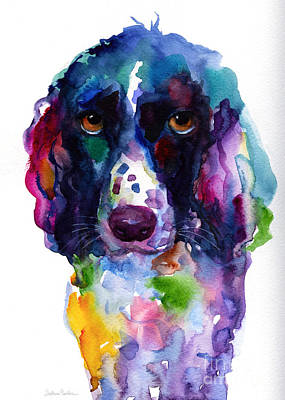 Watercolor Painting - Colorful English Springer Setter Spaniel Dog Portrait Art by Svetlana Novikova