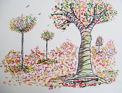 Nature Abstract Drawing - Colorful Fall by Tom Nettles