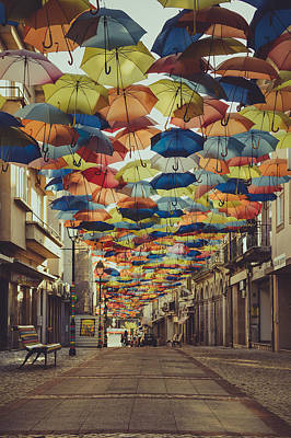 Colorful Floating Umbrellas II Print by Marco Oliveira