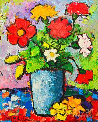 Bouquets Of Pink Flowers Green Blue Painting - Colorful Flowers From My Garden by Ana Maria Edulescu