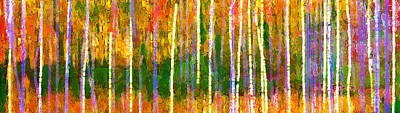 Vivid Colour Painting - Colorful Forest Abstract by Menega Sabidussi