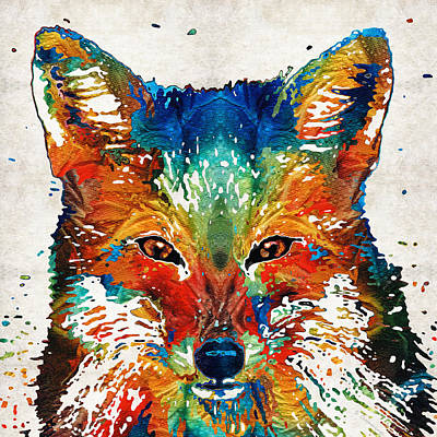 Colorful Fox Art - Foxi - By Sharon Cummings Print by Sharon Cummings