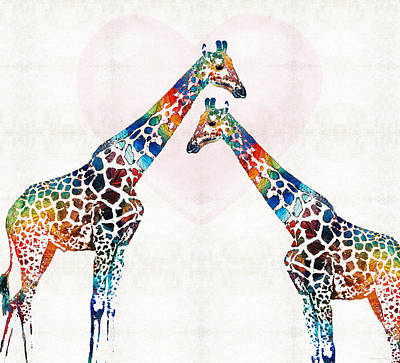 Colorful Giraffe Art - I've Got Your Back - By Sharon Cummings Print by Sharon Cummings