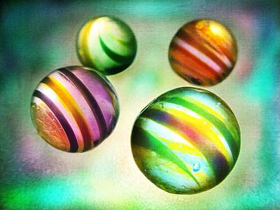 Orbs Photograph - Colorful Glass Marbles by Marianna Mills