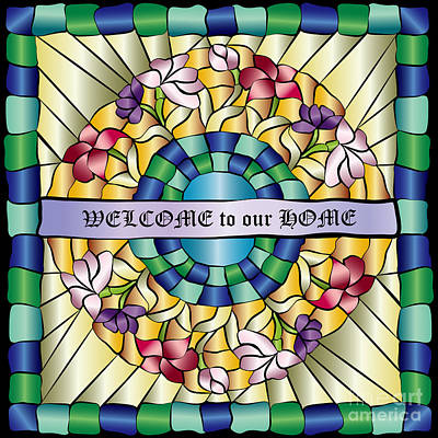 Colorful Hand-drawn Jewel Stained Glass Flowers Print by Beverly Claire Kaiya