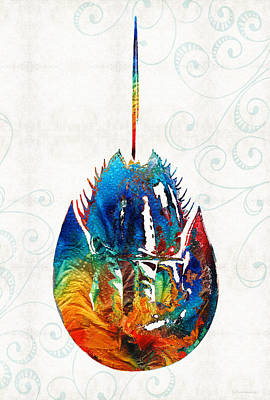 Water Theme Painting - Colorful Horseshoe Crab Art By Sharon Cummings by Sharon Cummings