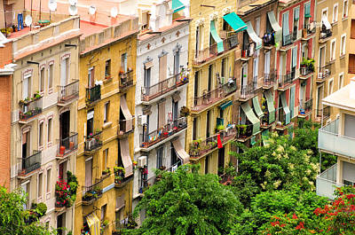 Barcelona Photograph - Colorful Houses In Barcelona Spain by Matthias Hauser