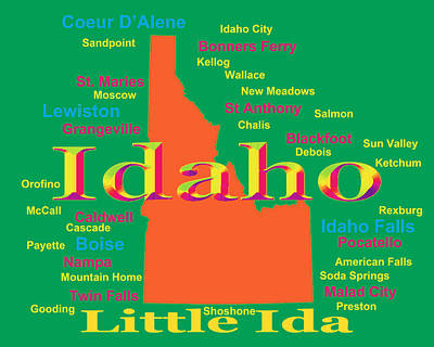 Colorful Idaho State Pride Map Silhouette  Print by Keith Webber Jr