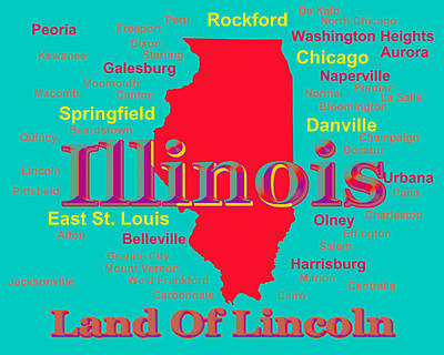 Sterling Digital Art - Colorful Illinois State Pride Map Silhouette  by Keith Webber Jr