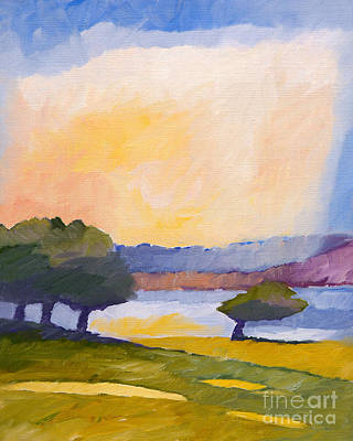 Abstract Impressionist Landscape Painting - Colorful Impression by Lutz Baar