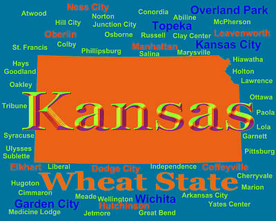 Colorful Kansas State Pride Map Silhouette  Print by Keith Webber Jr
