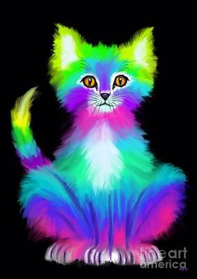 Kitty Digital Art - Colorful Kitty by Nick Gustafson
