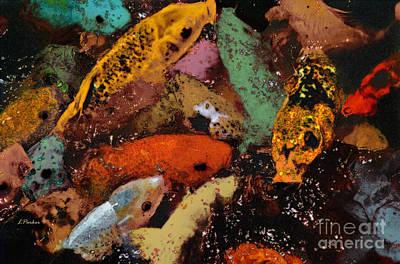 Koi Digital Art - Colorful Koi by Linda  Parker