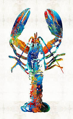 Colorful Lobster Art By Sharon Cummings Print by Sharon Cummings