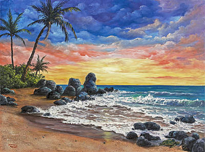 Oil Painting - Colorful Maui Sunset by Darice Machel McGuire