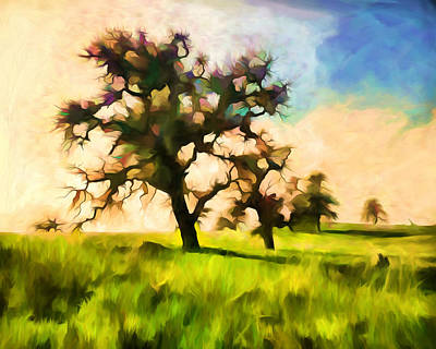 Branches Digital Art - Colorful Oak Trees by Priya Ghose