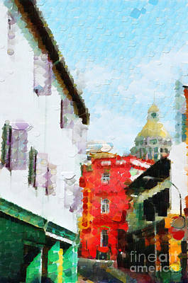 Local Attraction Painting - Colorful Old Buildings Of Singapore Painting by George Fedin and Magomed Magomedagaev