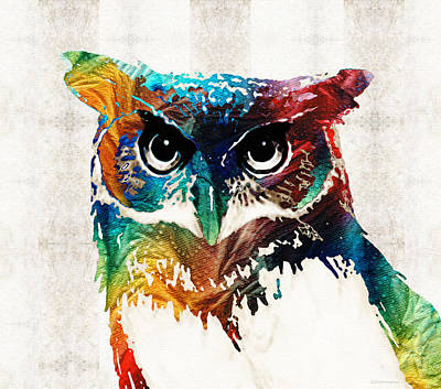Horns Painting - Colorful Owl Art - Wise Guy - By Sharon Cummings by Sharon Cummings