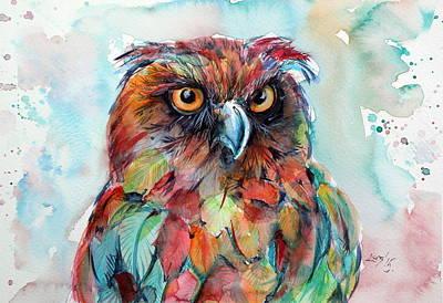 Colorful Owl Painting - Colorful Owl by Kovacs Anna Brigitta
