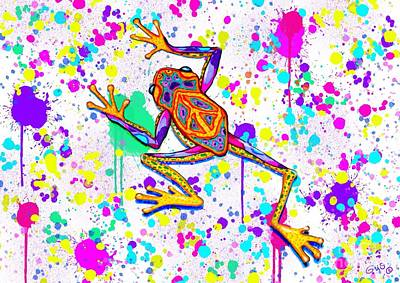 Colorful Painted Peace Frog Original by Nick Gustafson