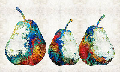 Colorful Pear Art - Three Pears - By Sharon Cummings Print by Sharon Cummings