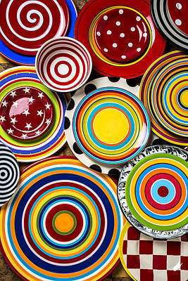 Tableware Photograph - Colorful Plates by Garry Gay
