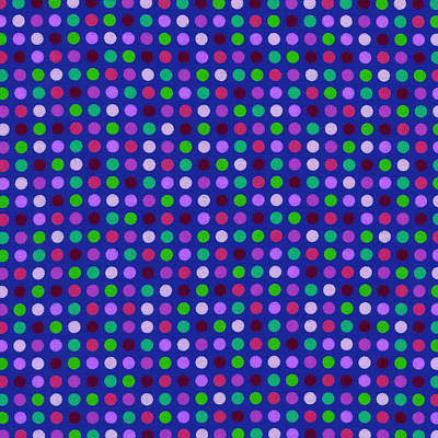 Colorful Polka Dots On Blue Fabric Background Print by Keith Webber Jr