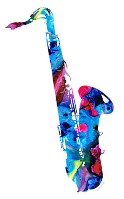 Colorful Saxophone 2 By Sharon Cummings Print by Sharon Cummings