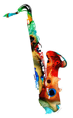 New York Mixed Media - Colorful Saxophone By Sharon Cummings by Sharon Cummings