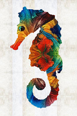 Surf Decor Painting - Colorful Seahorse Art By Sharon Cummings by Sharon Cummings