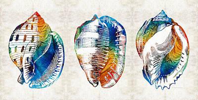 Yoga Painting - Colorful Seashell Art - Beach Trio - By Sharon Cummings by Sharon Cummings
