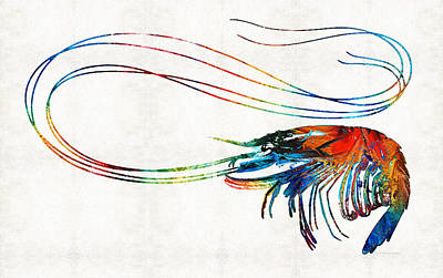 Colorful Shrimp Art By Sharon Cummings Print by Sharon Cummings