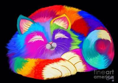 Kitty Digital Art - Colorful Sleeping Rainbow Cat by Nick Gustafson