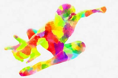 Spectators Digital Art - Colorful Spiderman Abstract by Eti Reid