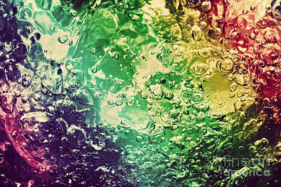 Liquid Photograph - Colorful Splashing Pouring Water With Bubbles by Michal Bednarek