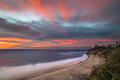 California Ocean Photograph - Colorful Swamis Sunset by Larry Marshall