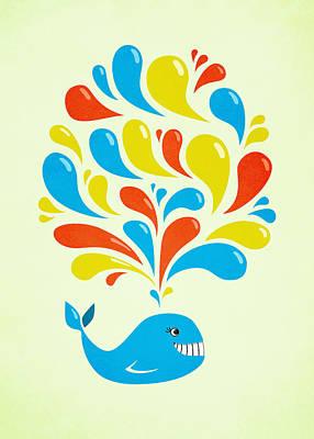Colorful Swirls Happy Cartoon Whale Print by Boriana Giormova